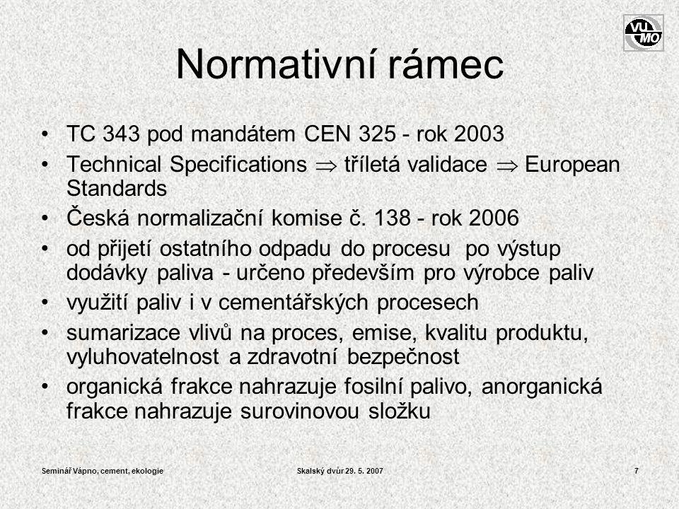 Normativní rámec TC 343 pod mandátem CEN 325 - rok 2003