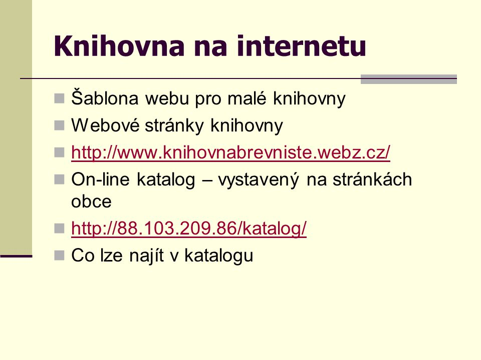 Knihovna na internetu Šablona webu pro malé knihovny