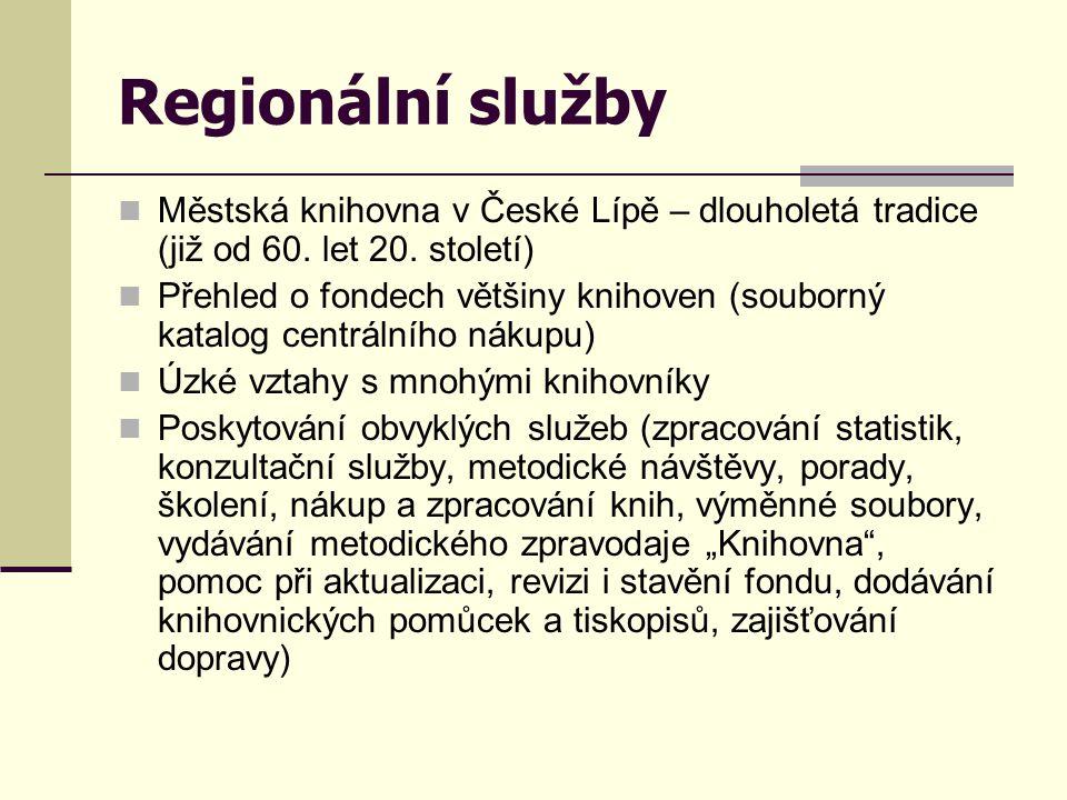 Regionální služby Městská knihovna v České Lípě – dlouholetá tradice (již od 60. let 20. století)