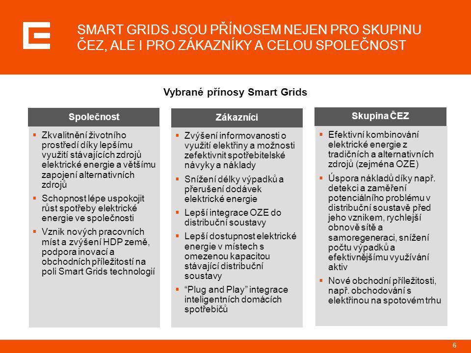 Vybrané přínosy Smart Grids