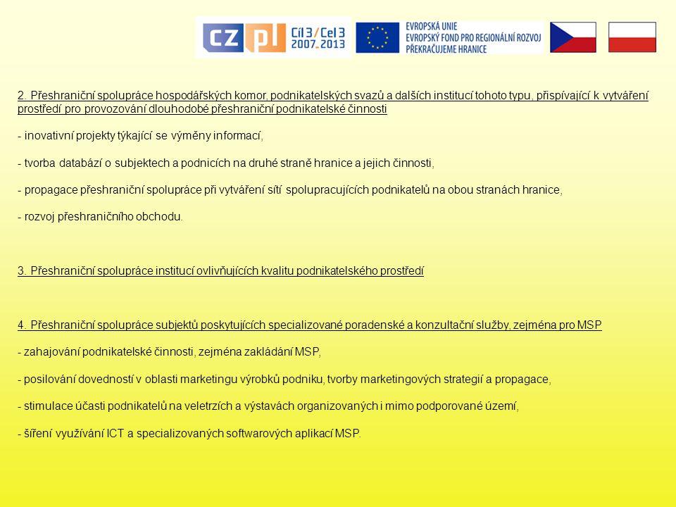 2. Přeshraniční spolupráce hospodářských komor, podnikatelských svazů a dalších institucí tohoto typu, přispívající k vytváření prostředí pro provozování dlouhodobé přeshraniční podnikatelské činnosti - inovativní projekty týkající se výměny informací, - tvorba databází o subjektech a podnicích na druhé straně hranice a jejich činnosti, - propagace přeshraniční spolupráce při vytváření sítí spolupracujících podnikatelů na obou stranách hranice, - rozvoj přeshraničního obchodu.