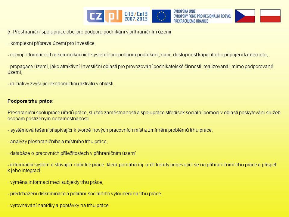 5. Přeshraniční spolupráce obcí pro podporu podnikání v příhraničním území
