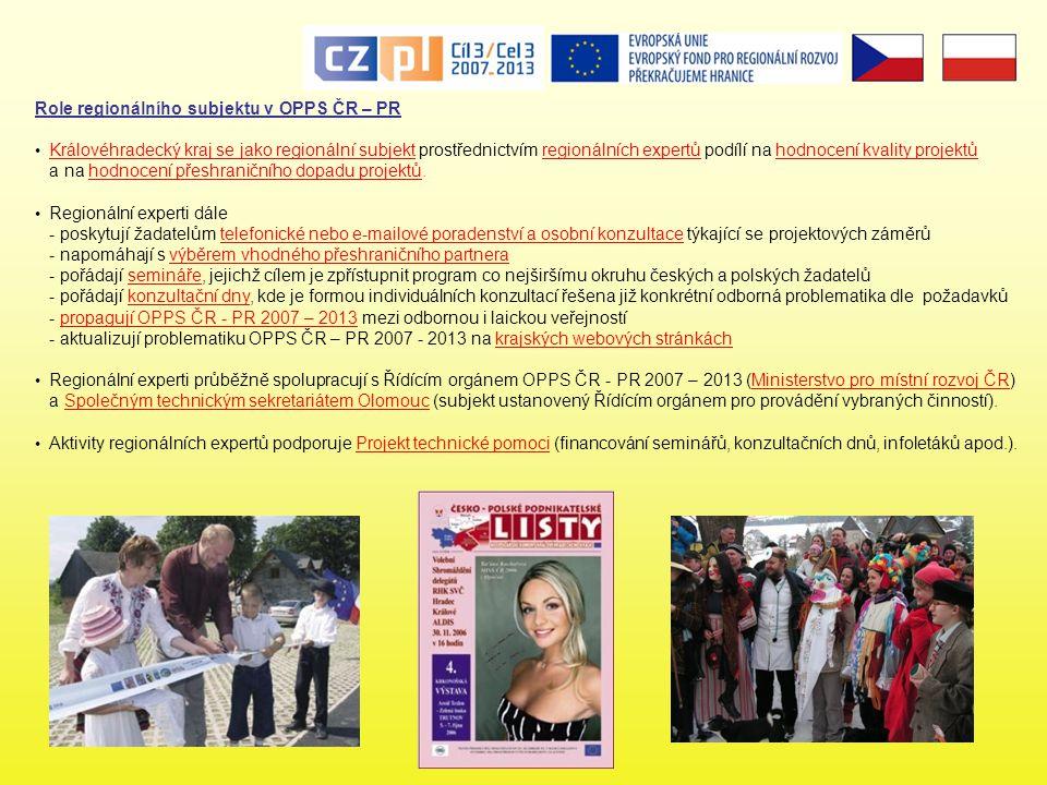 Role regionálního subjektu v OPPS ČR – PR