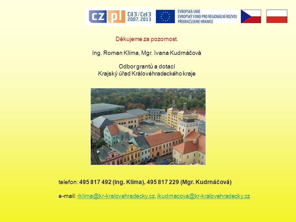 Ing. Roman Klíma, Mgr. Ivana Kudrnáčová Odbor grantů a dotací