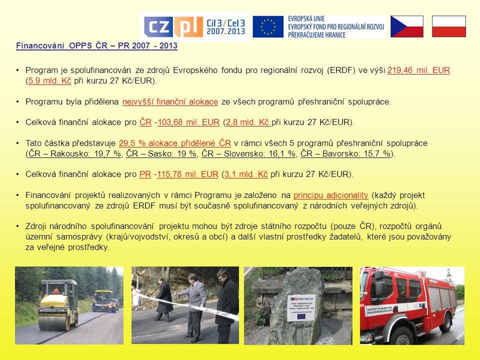 Financování OPPS ČR – PR 2007 - 2013