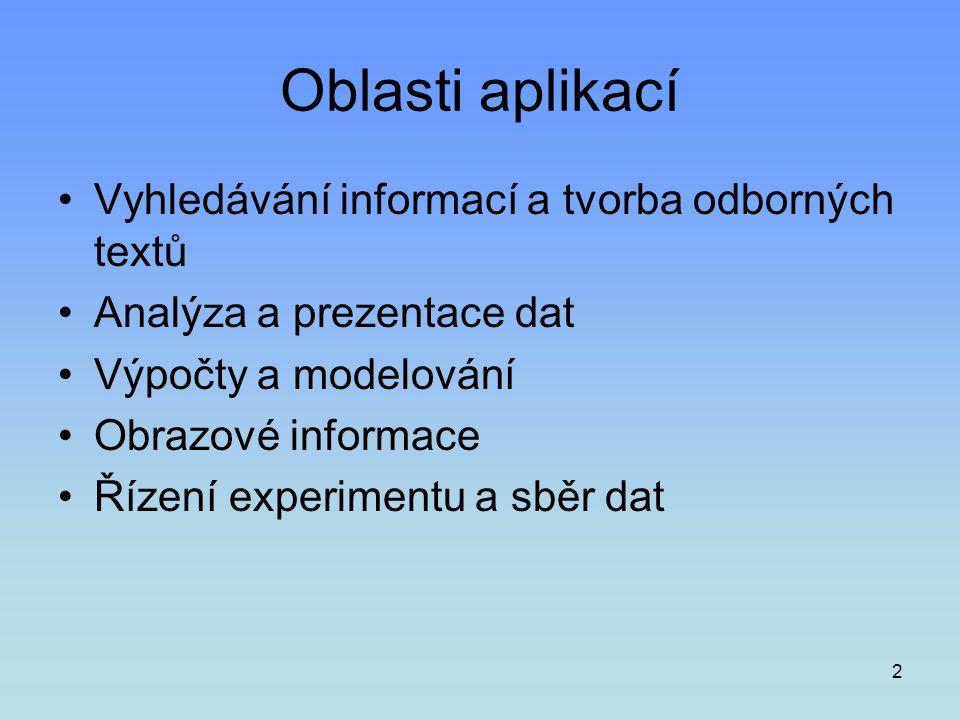 Oblasti aplikací Vyhledávání informací a tvorba odborných textů