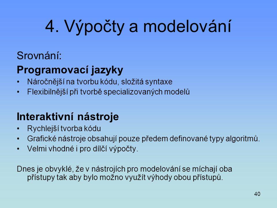4. Výpočty a modelování Srovnání: Programovací jazyky