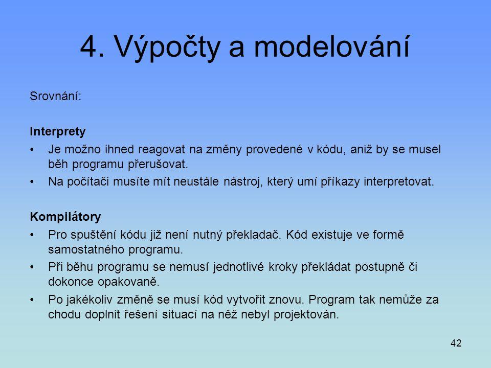 4. Výpočty a modelování Srovnání: Interprety