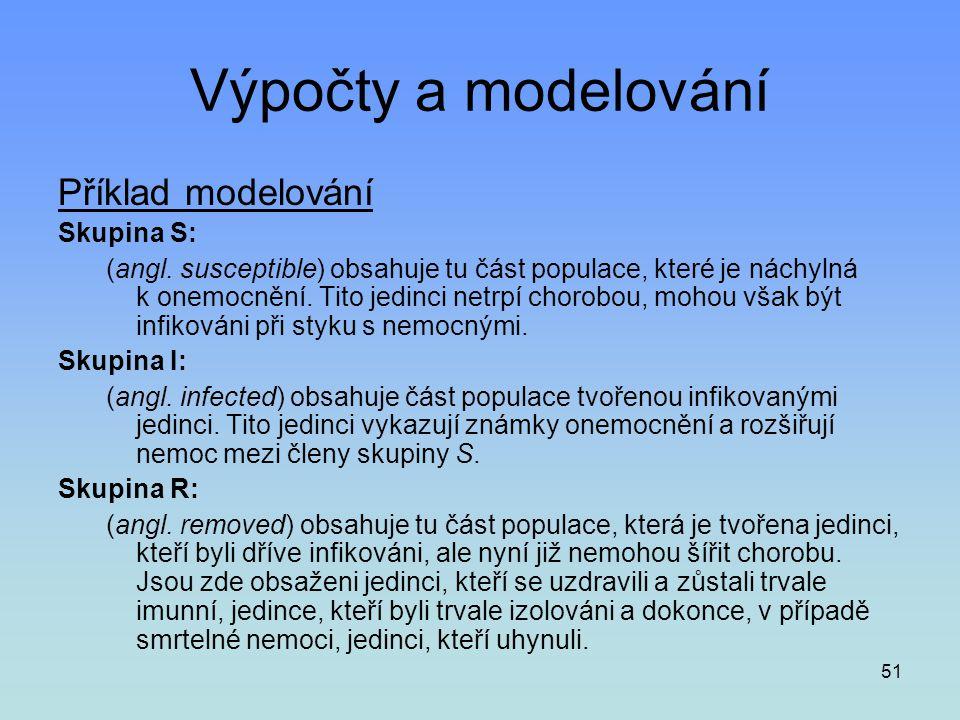 Výpočty a modelování Příklad modelování Skupina S: