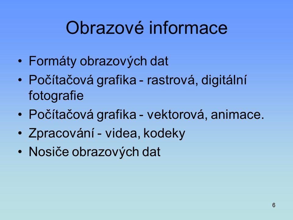 Obrazové informace Formáty obrazových dat