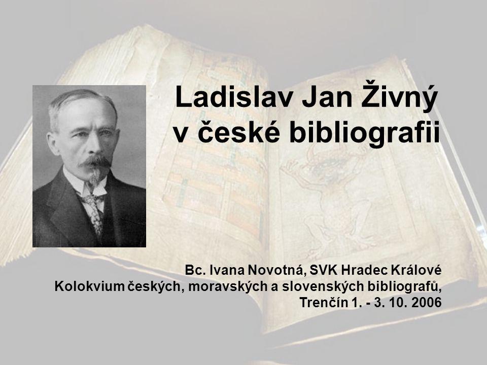 Ladislav Jan Živný v české bibliografii