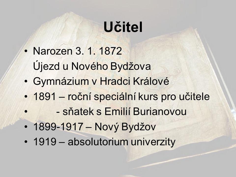 Učitel Narozen 3. 1. 1872 Újezd u Nového Bydžova