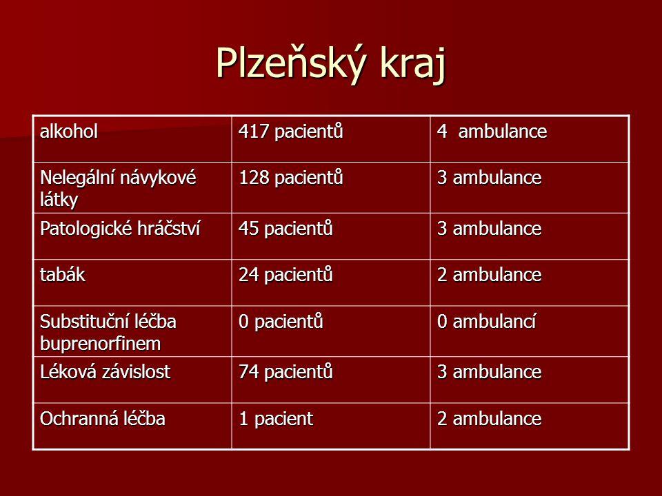 Plzeňský kraj alkohol 417 pacientů 4 ambulance