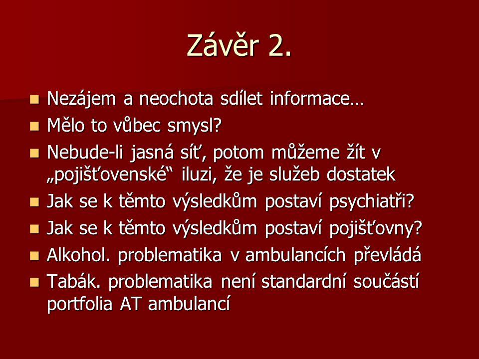 Závěr 2. Nezájem a neochota sdílet informace… Mělo to vůbec smysl