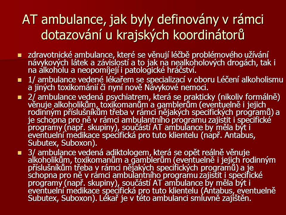 AT ambulance, jak byly definovány v rámci dotazování u krajských koordinátorů