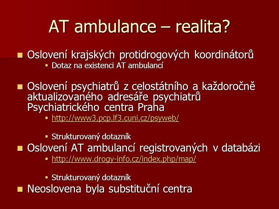AT ambulance – realita Oslovení krajských protidrogových koordinátorů