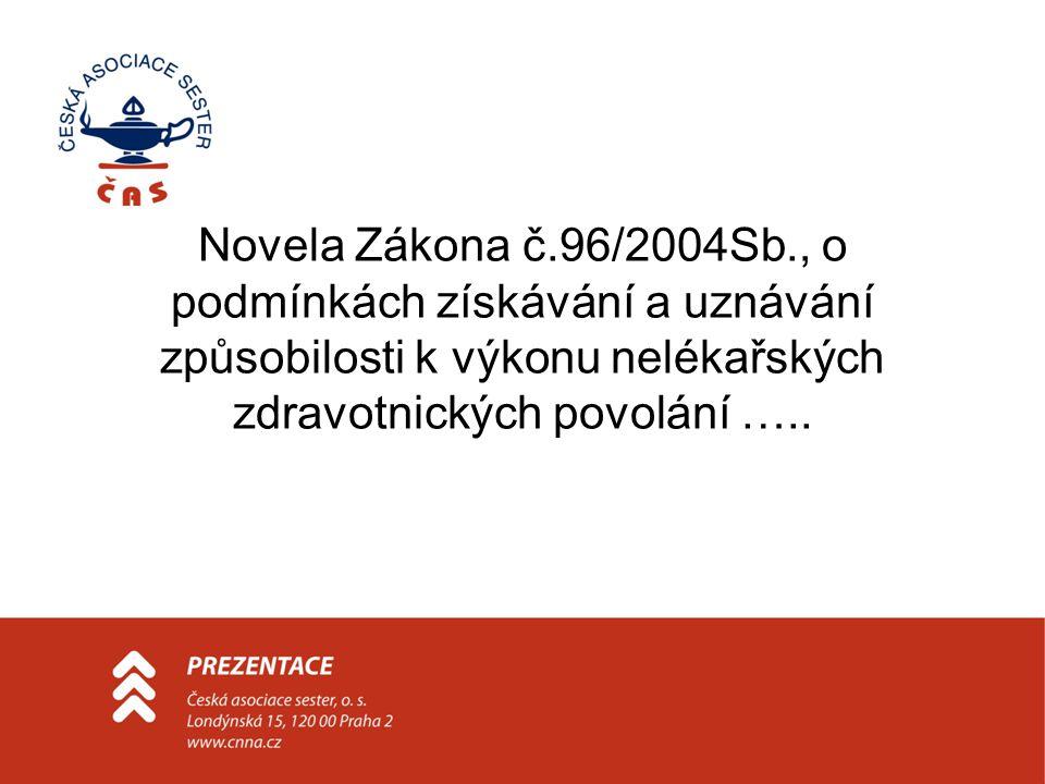 Novela Zákona č.96/2004Sb., o podmínkách získávání a uznávání způsobilosti k výkonu nelékařských zdravotnických povolání …..
