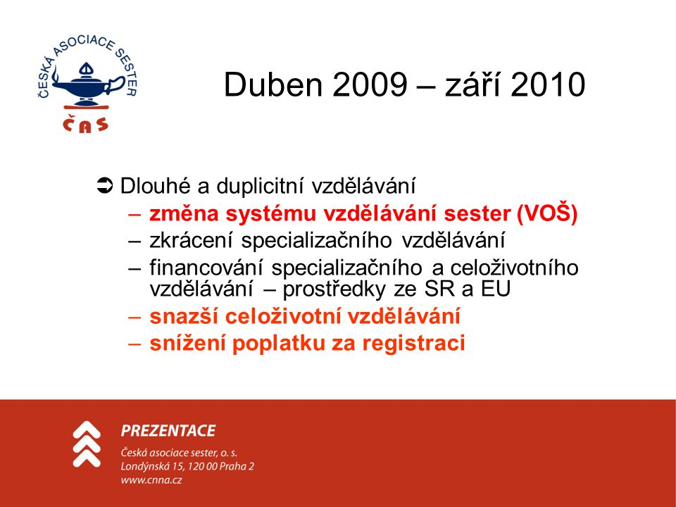 Duben 2009 – září 2010 Dlouhé a duplicitní vzdělávání