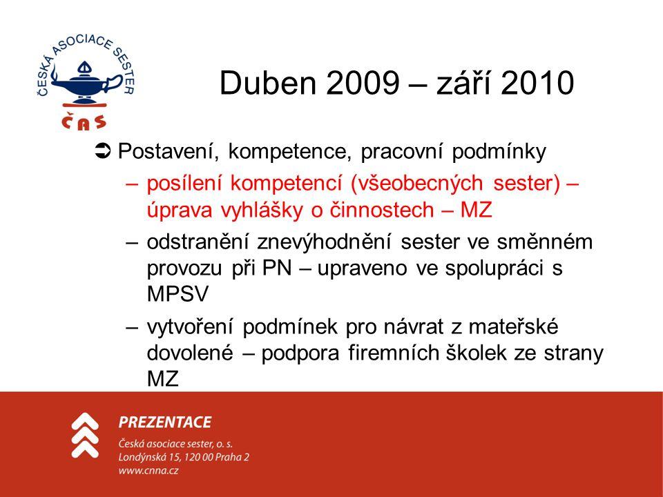 Duben 2009 – září 2010 Postavení, kompetence, pracovní podmínky