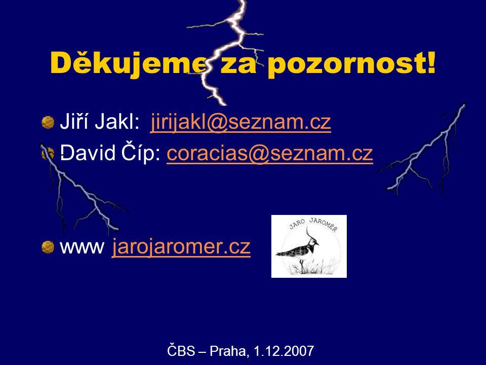 Děkujeme za pozornost! Jiří Jakl: jirijakl@seznam.cz