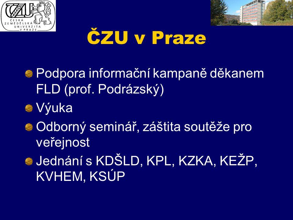 ČZU v Praze Podpora informační kampaně děkanem FLD (prof. Podrázský)