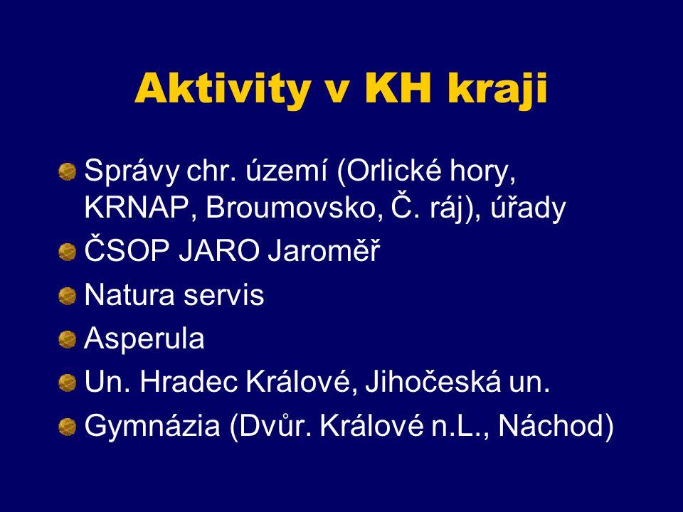 Aktivity v KH kraji Správy chr. území (Orlické hory, KRNAP, Broumovsko, Č. ráj), úřady. ČSOP JARO Jaroměř.
