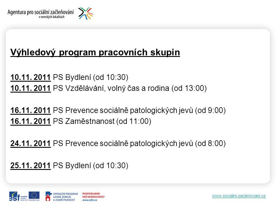 Výhledový program pracovních skupin