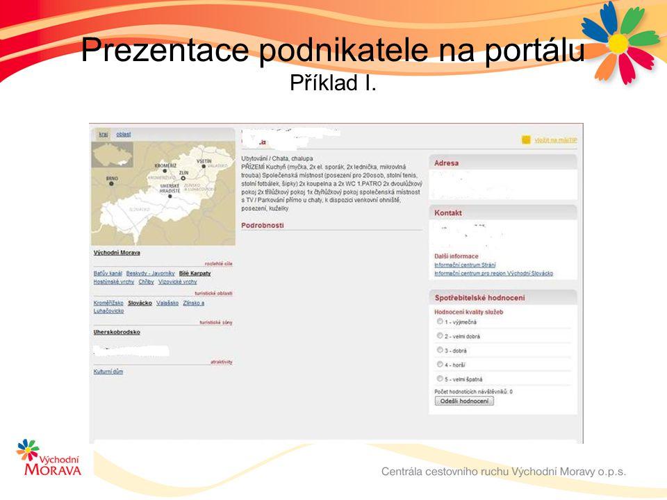 Prezentace podnikatele na portálu Příklad I.