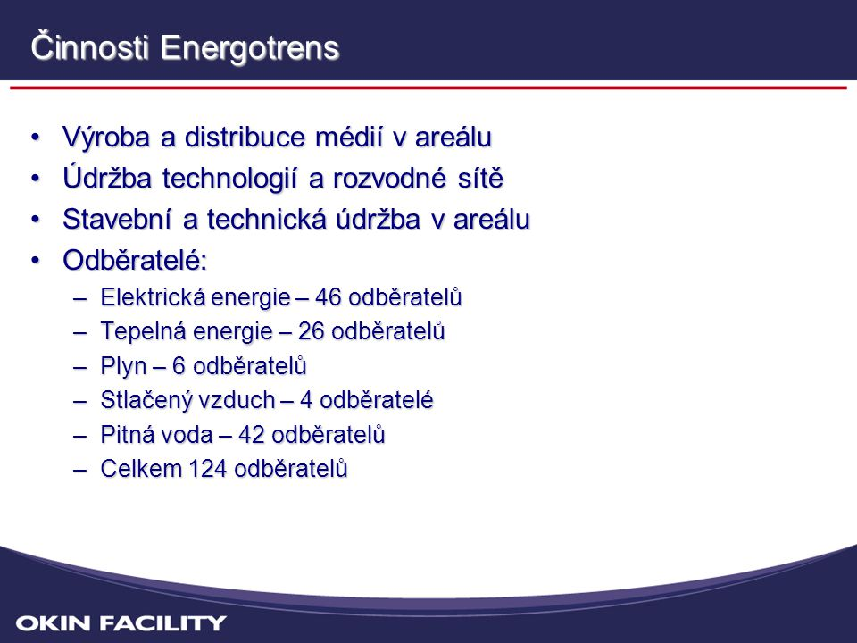 Činnosti Energotrens Výroba a distribuce médií v areálu