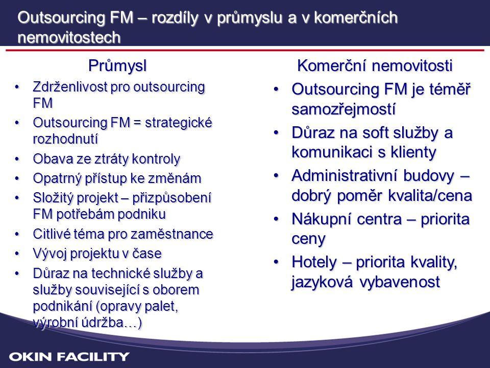 Outsourcing FM – rozdíly v průmyslu a v komerčních nemovitostech