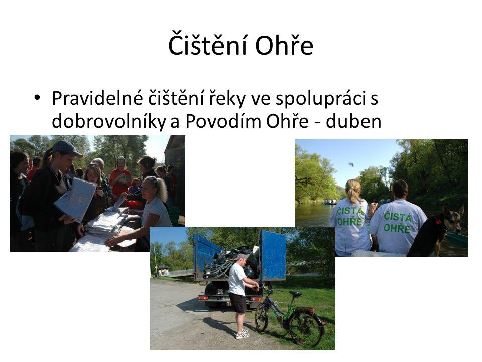Čištění Ohře Pravidelné čištění řeky ve spolupráci s dobrovolníky a Povodím Ohře - duben