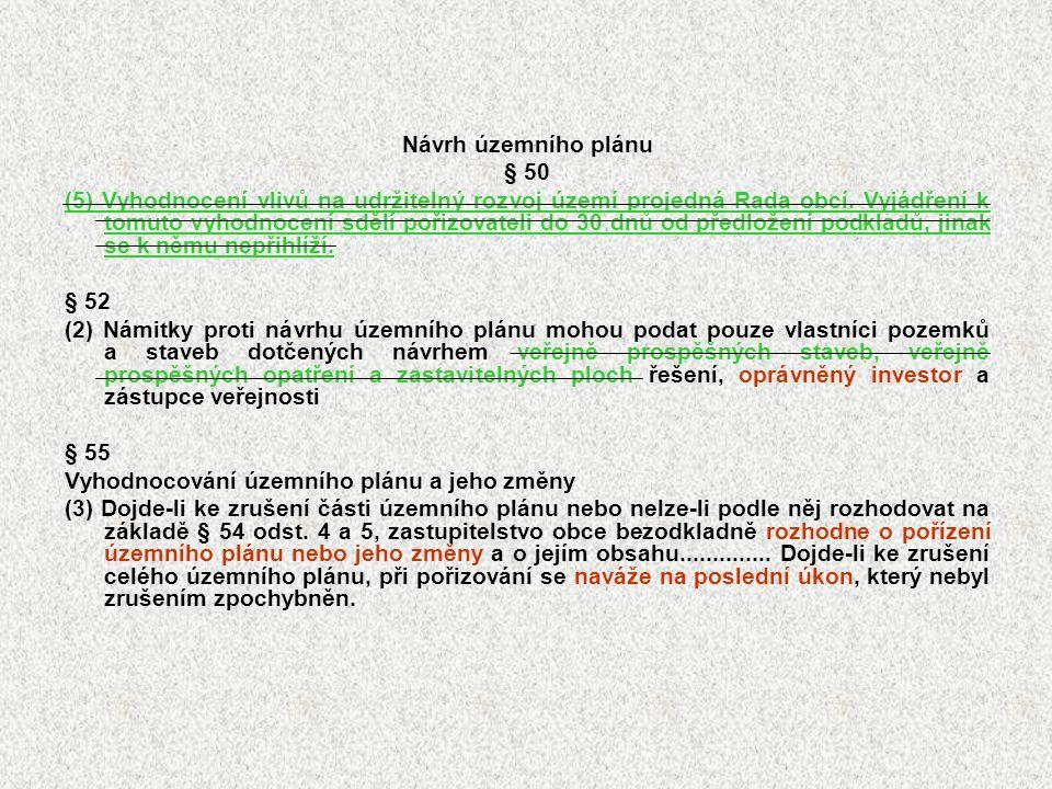 Návrh územního plánu § 50.