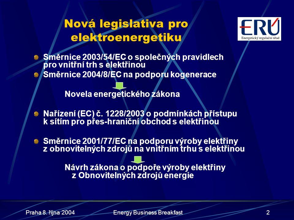 Nová legislativa pro elektroenergetiku