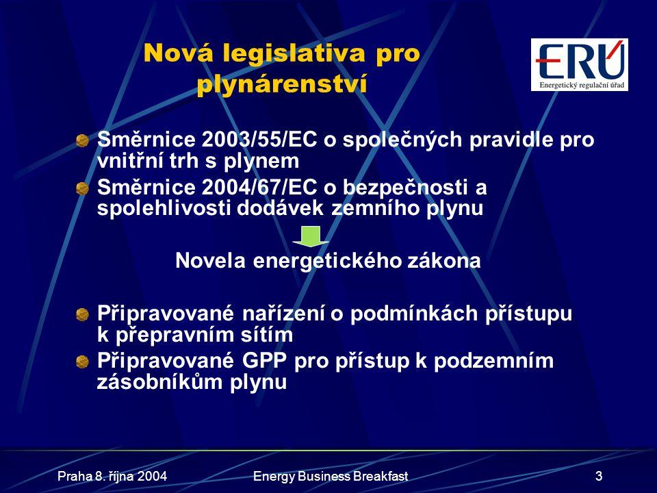 Nová legislativa pro plynárenství