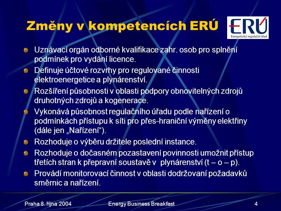 Změny v kompetencích ERÚ