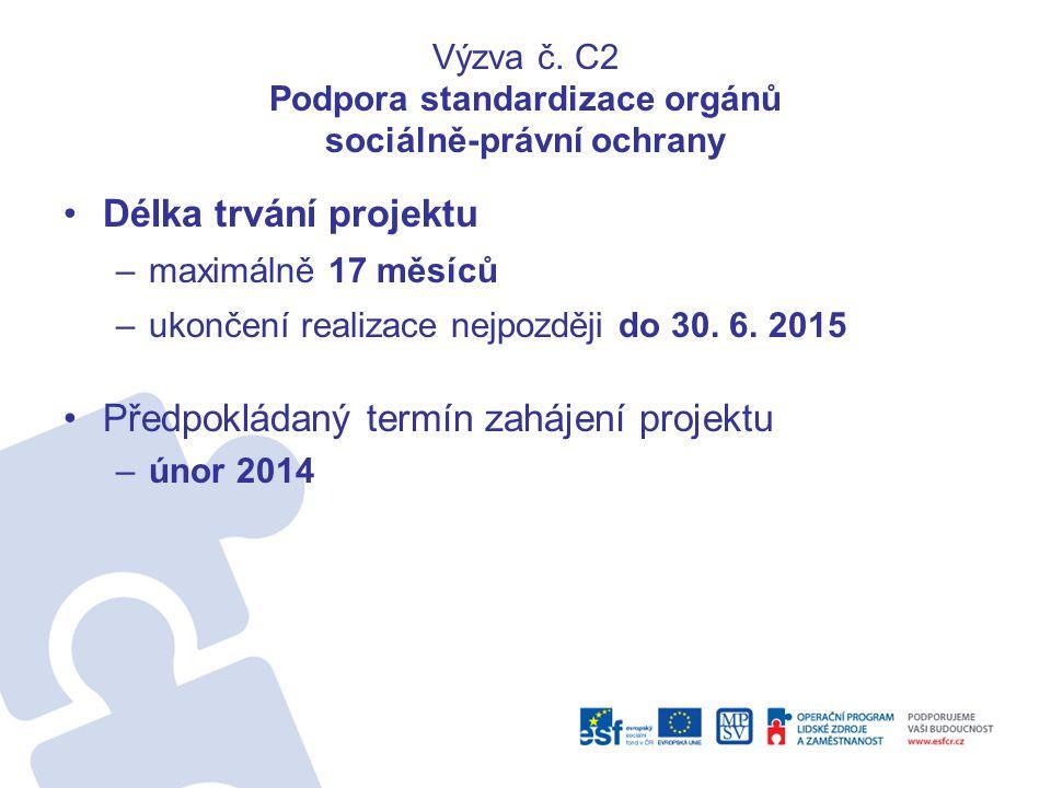 Výzva č. C2 Podpora standardizace orgánů sociálně-právní ochrany