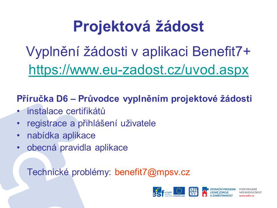 Vyplnění žádosti v aplikaci Benefit7+
