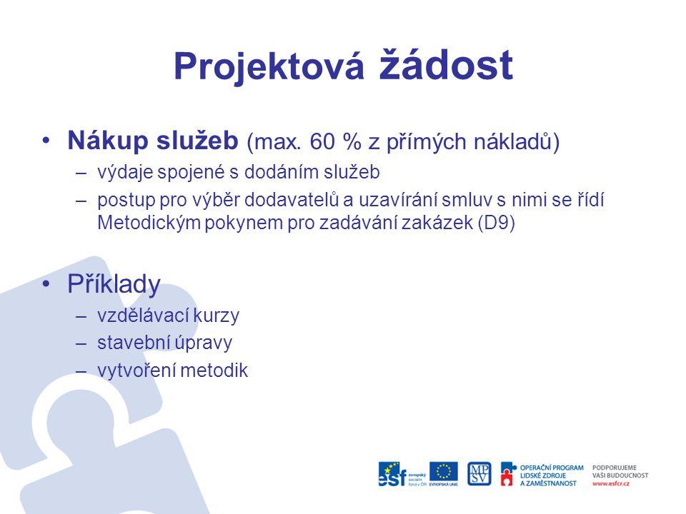 Projektová žádost Nákup služeb (max. 60 % z přímých nákladů) Příklady