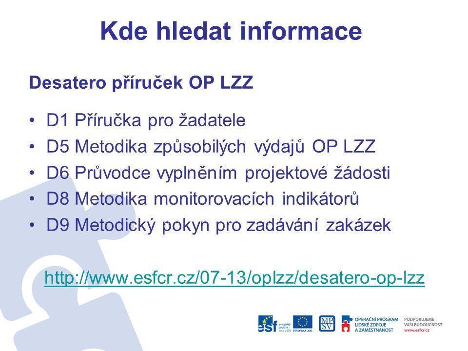 Kde hledat informace Desatero příruček OP LZZ D1 Příručka pro žadatele