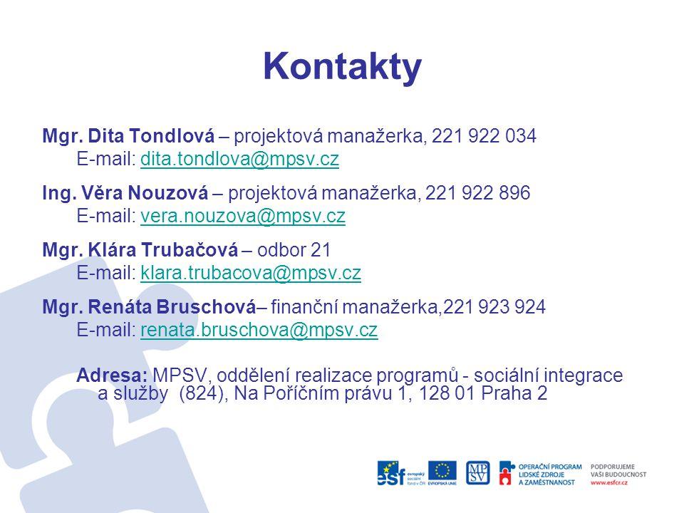 Kontakty Mgr. Dita Tondlová – projektová manažerka, 221 922 034