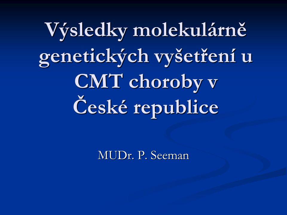 Výsledky molekulárně genetických vyšetření u CMT choroby v České republice