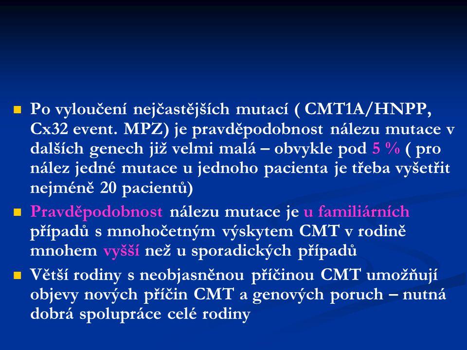 Po vyloučení nejčastějších mutací ( CMT1A/HNPP, Cx32 event