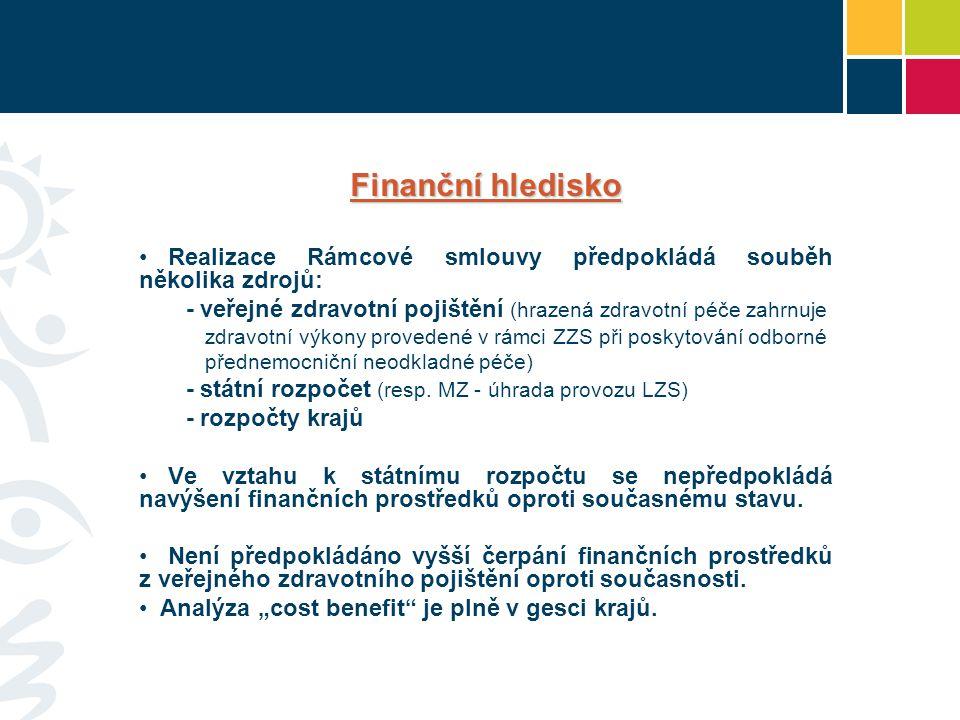 Finanční hledisko Realizace Rámcové smlouvy předpokládá souběh několika zdrojů: - veřejné zdravotní pojištění (hrazená zdravotní péče zahrnuje.