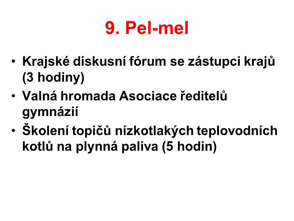 9. Pel-mel Krajské diskusní fórum se zástupci krajů (3 hodiny)