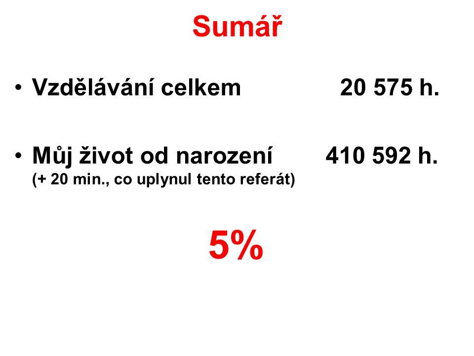 5% Sumář Vzdělávání celkem 20 575 h.