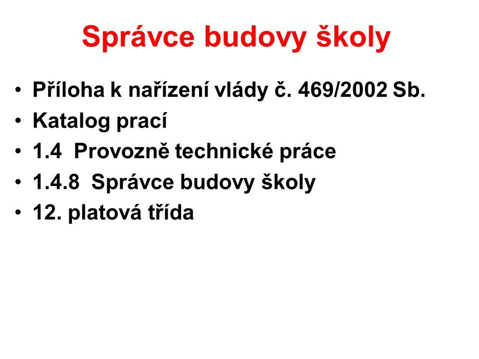 Správce budovy školy Příloha k nařízení vlády č. 469/2002 Sb.