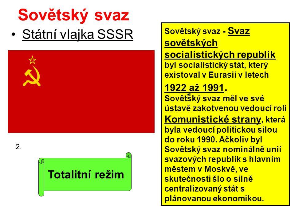 Sovětský svaz Státní vlajka SSSR Totalitní režim