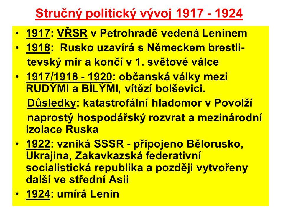 Stručný politický vývoj 1917 - 1924