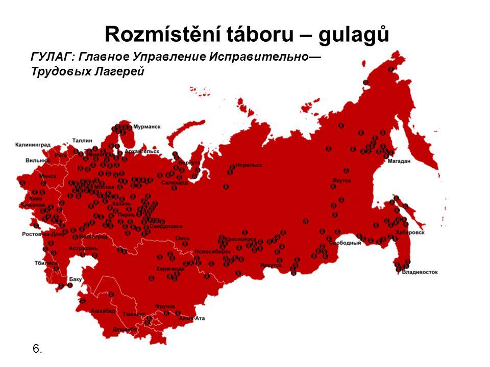 Rozmístění táboru – gulagů