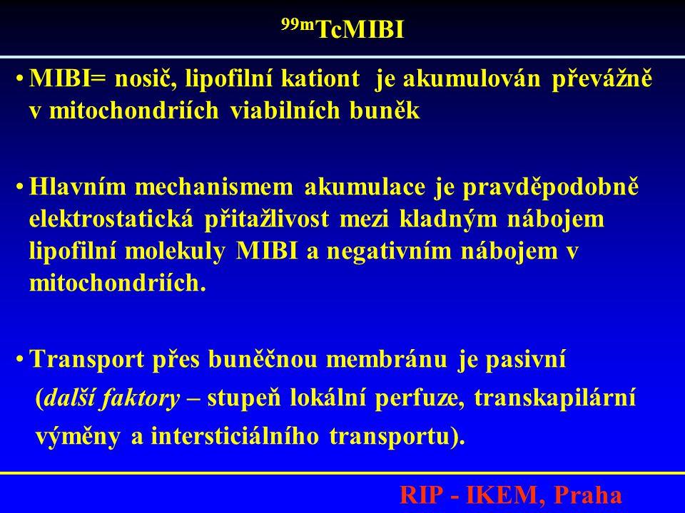 99mTcMIBI MIBI= nosič, lipofilní kationt je akumulován převážně v mitochondriích viabilních buněk.